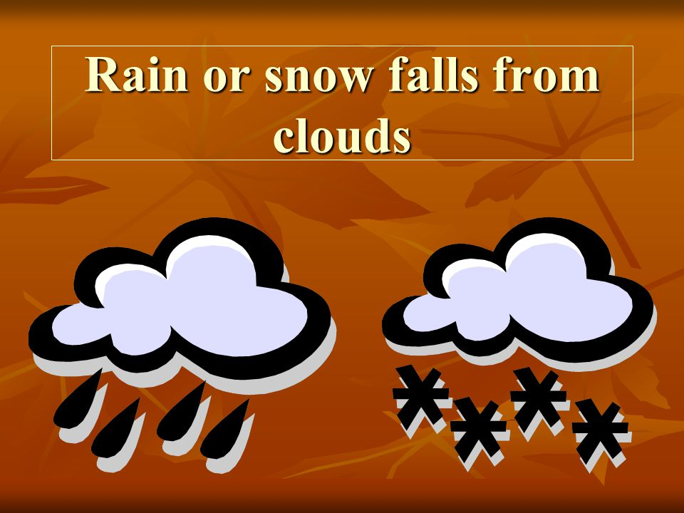 Rain or snow falls from clouds