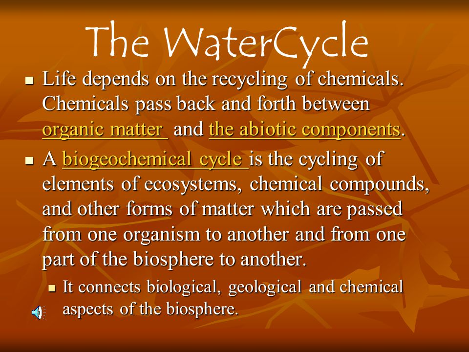 The WaterCycle Life depends on the recycling of chemicals. Chemicals pass back and forth between organic matter and the abiotic components.