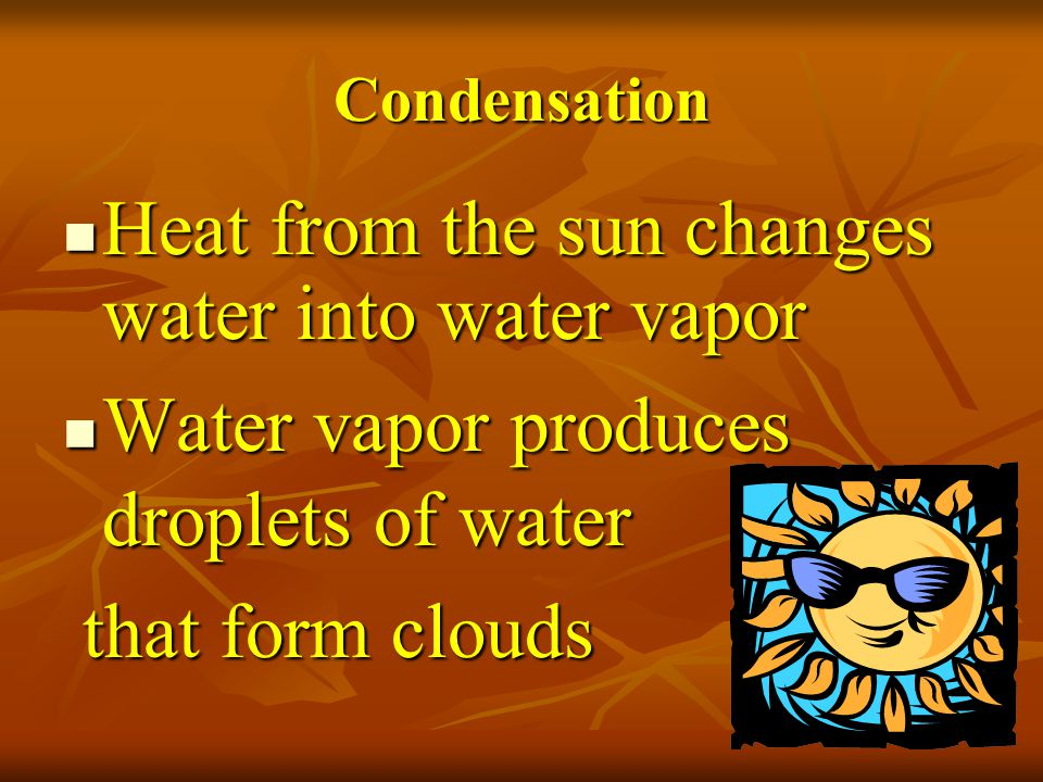 Heat from the sun changes water into water vapor