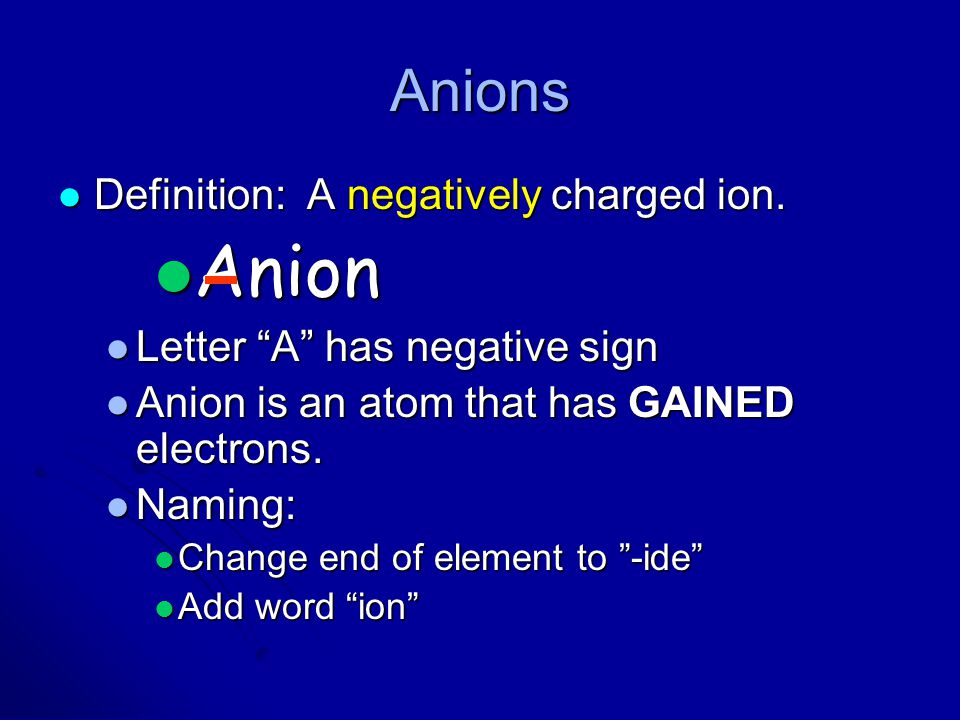Anion Anions Definition: A negatively charged ion.