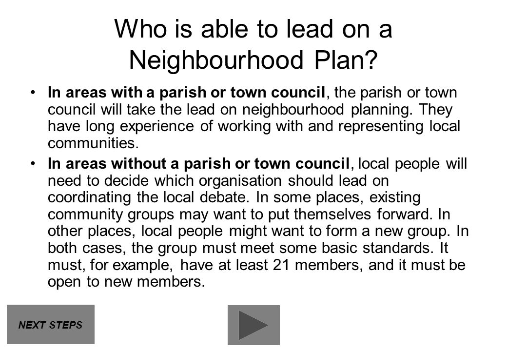 Who is able to lead on a Neighbourhood Plan