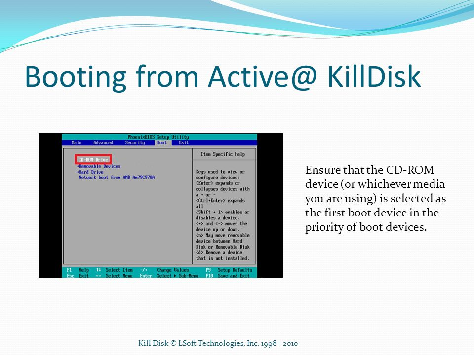 Booting from Active@ KillDisk
