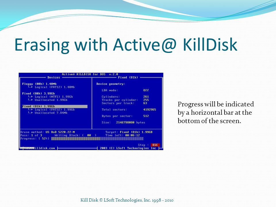 Erasing with Active@ KillDisk
