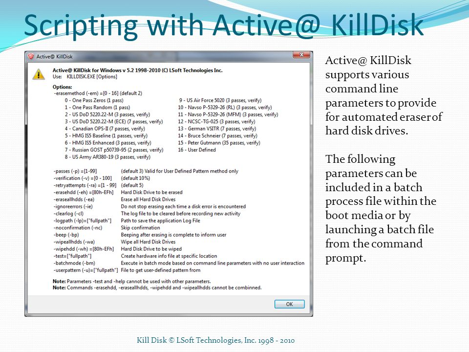 Scripting with KillDisk