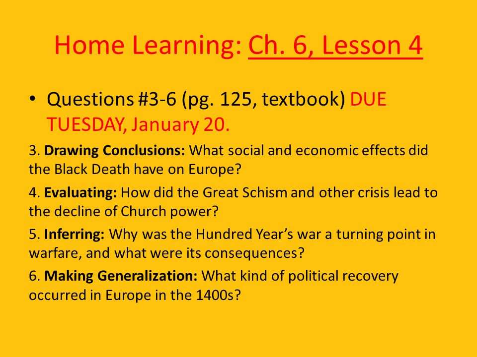 Home Learning: Ch. 6, Lesson 4