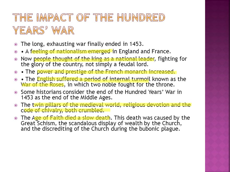 The Impact of the Hundred Years' War
