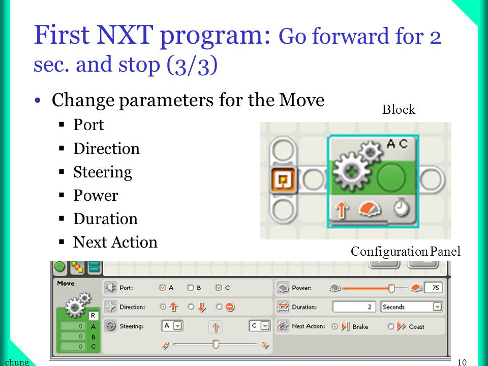 First NXT program: Go forward for 2 sec. and stop (3/3)