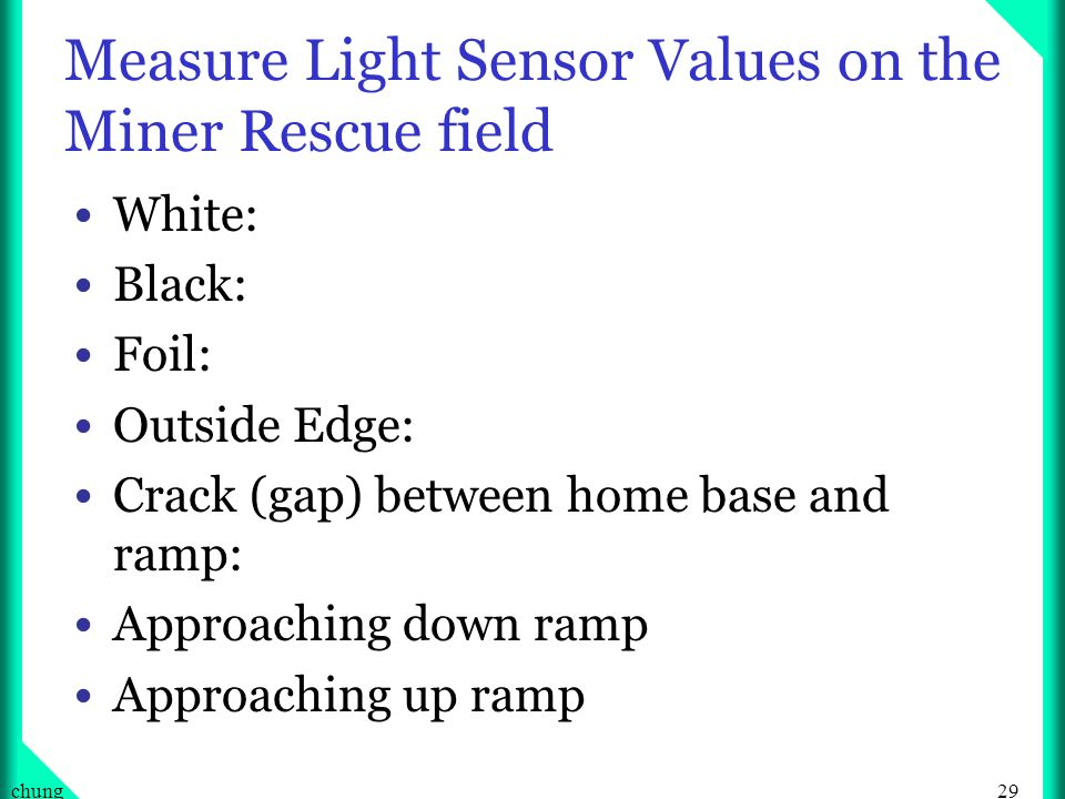 Measure Light Sensor Values on the Miner Rescue field