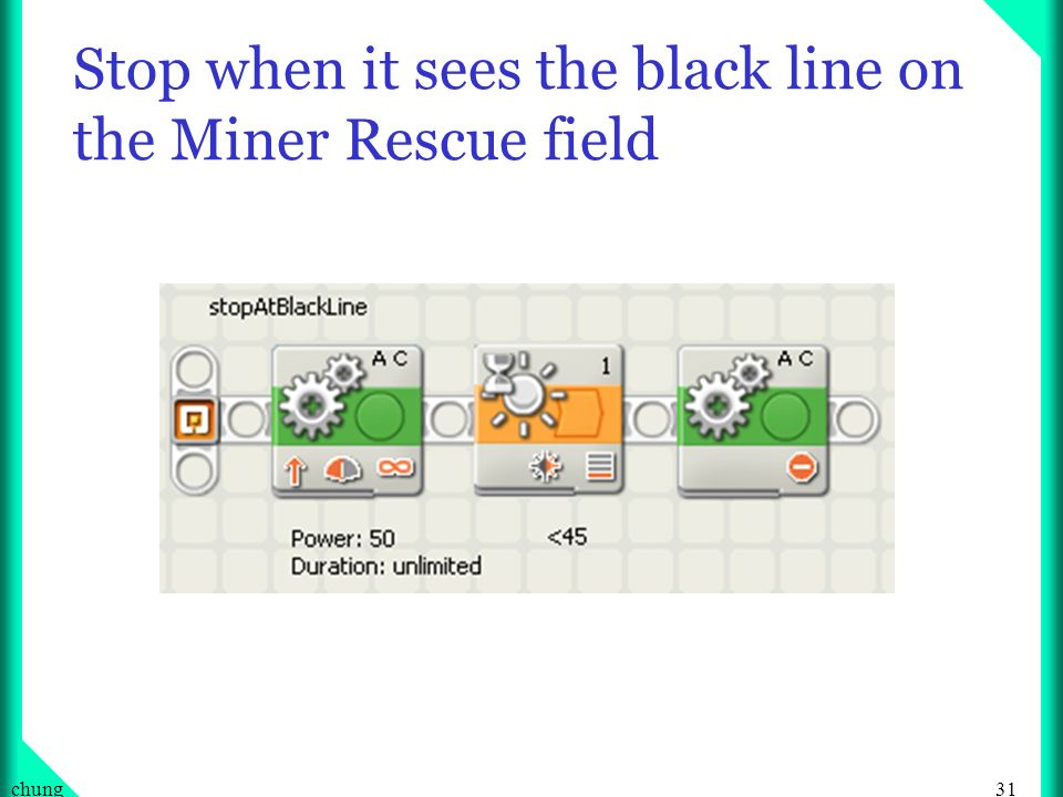 Stop when it sees the black line on the Miner Rescue field