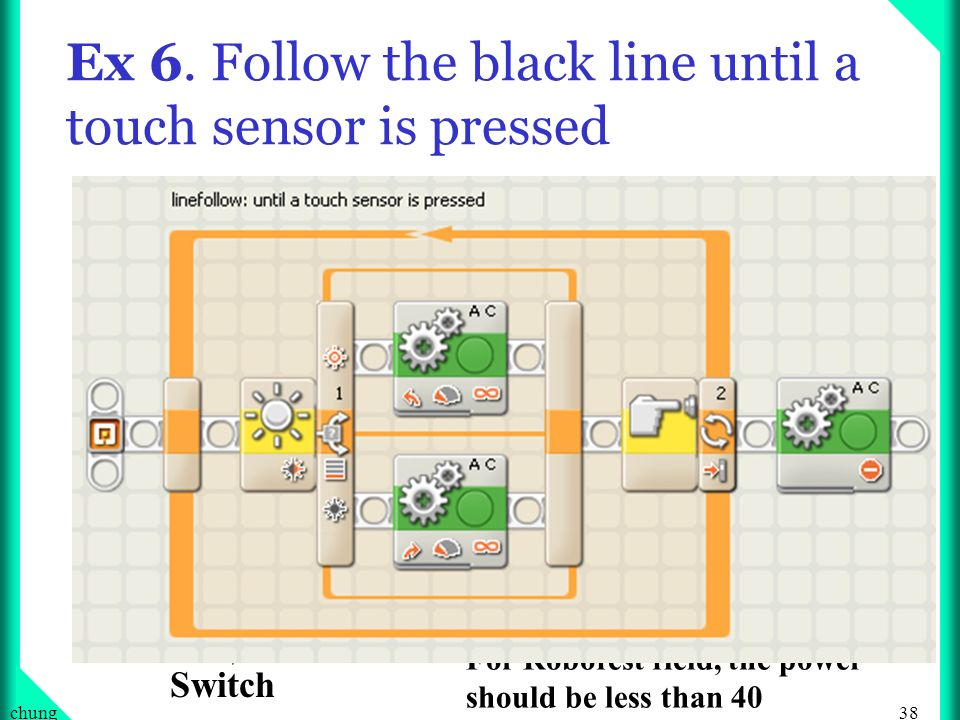 Ex 6. Follow the black line until a touch sensor is pressed
