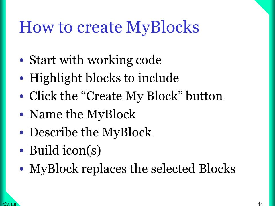 How to create MyBlocks Start with working code