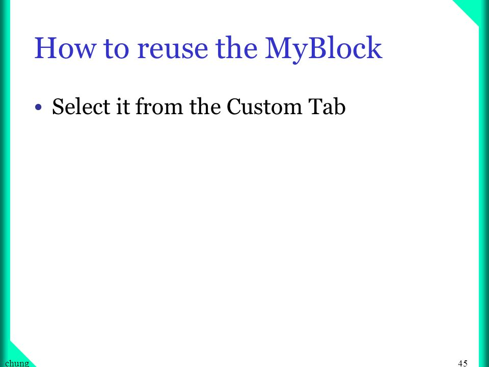 How to reuse the MyBlock