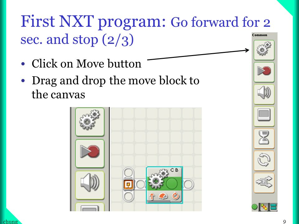 First NXT program: Go forward for 2 sec. and stop (2/3)