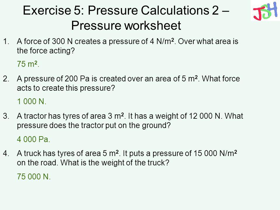 Pressure Force Area Worksheet Kidz Activities