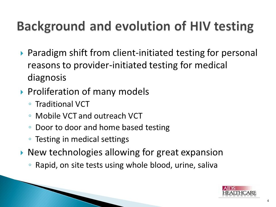 Background and evolution of HIV testing