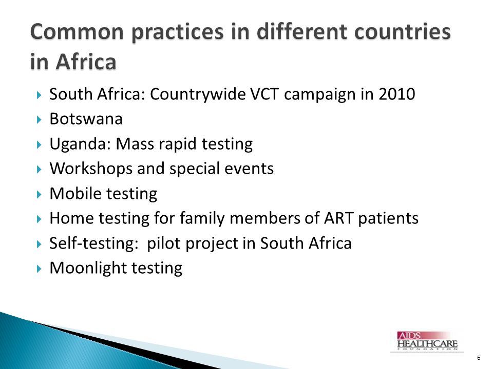 Common practices in different countries in Africa