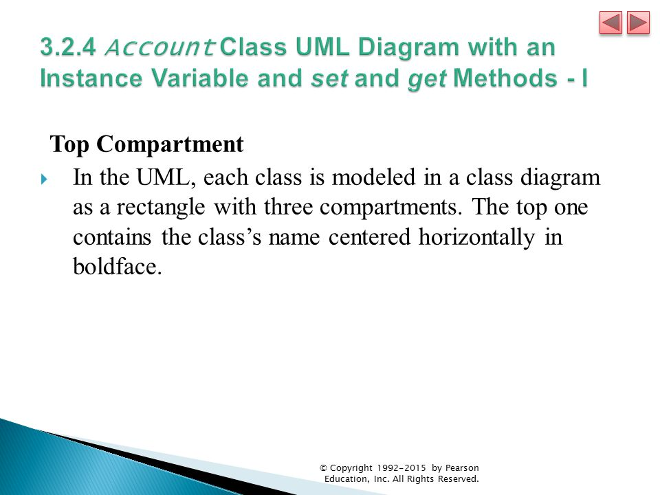 3.2.4 Account Class UML Diagram with an Instance Variable and set and get Methods - I