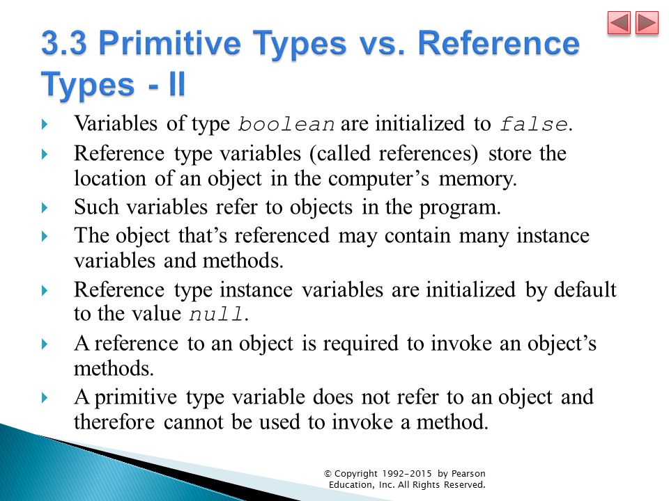 3.3 Primitive Types vs. Reference Types - II