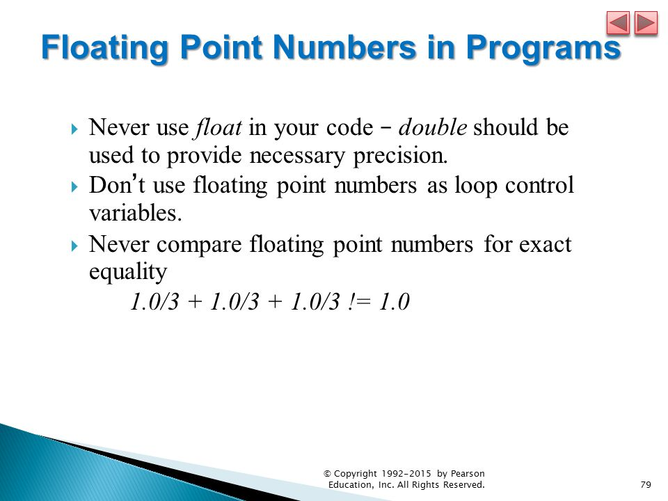 Floating Point Numbers in Programs