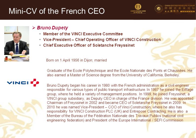 Mini-CV of the French CEO