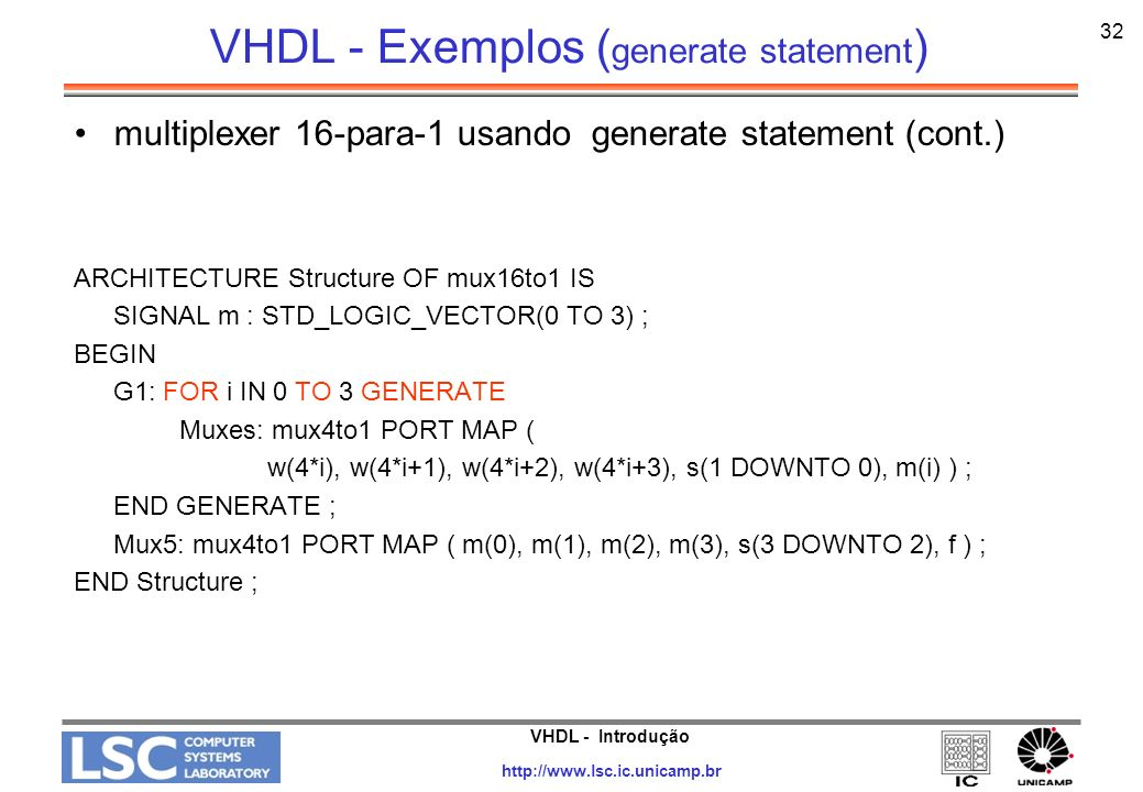 VHDL - Exemplos (generate statement)