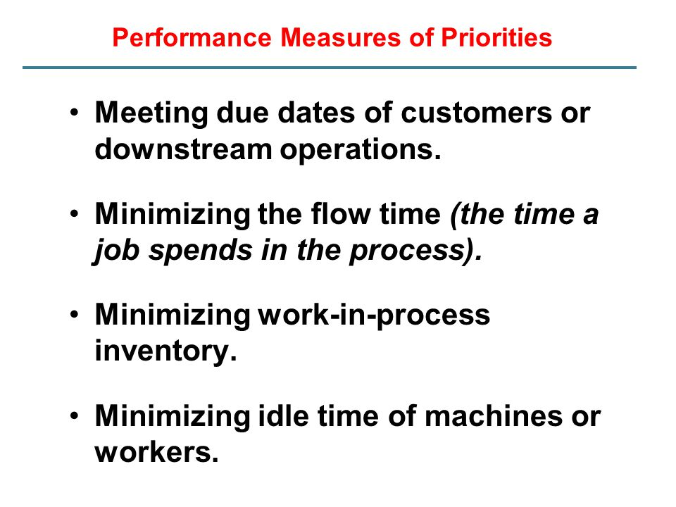 Performance Measures of Priorities