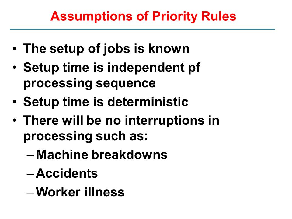Assumptions of Priority Rules