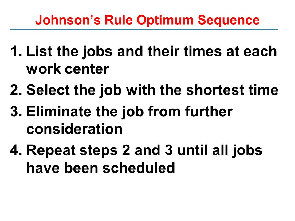 Johnson's Rule Optimum Sequence
