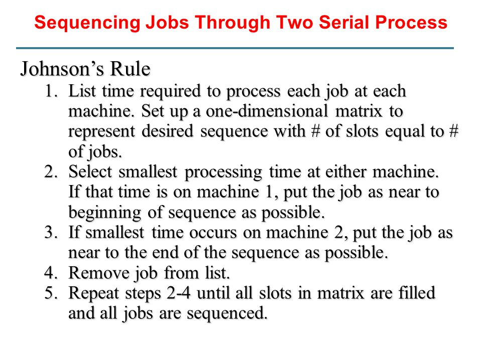 Sequencing Jobs Through Two Serial Process