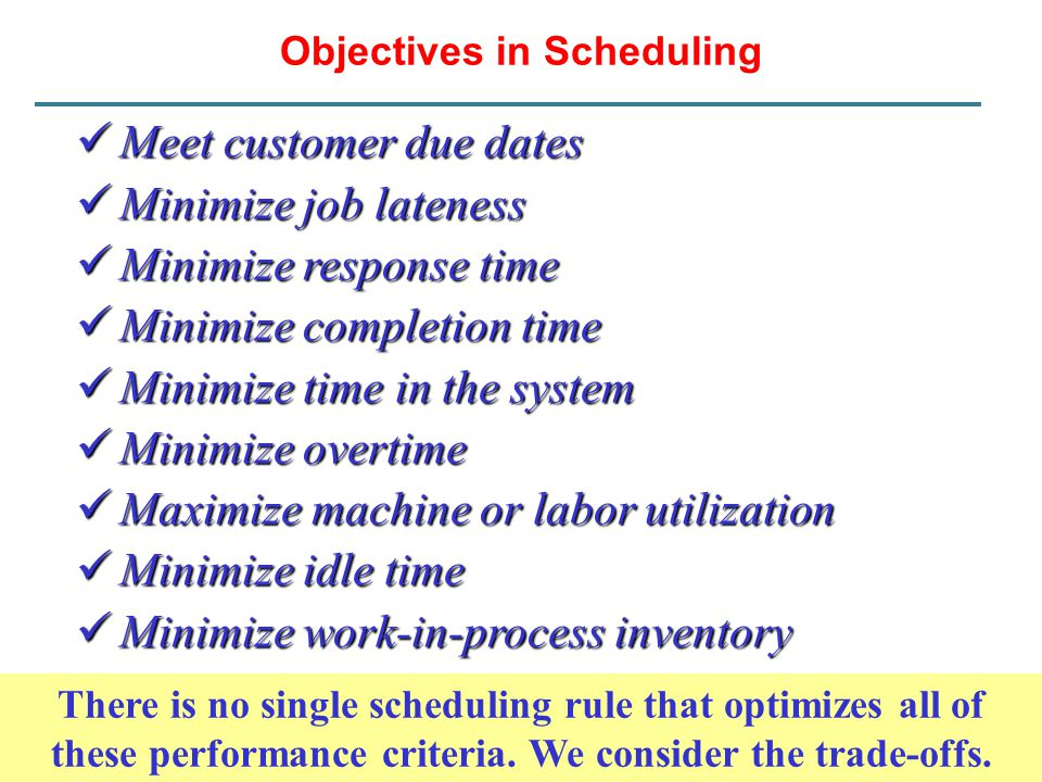Objectives in Scheduling