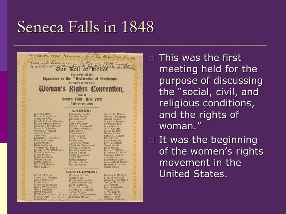 Seneca Falls in 1848