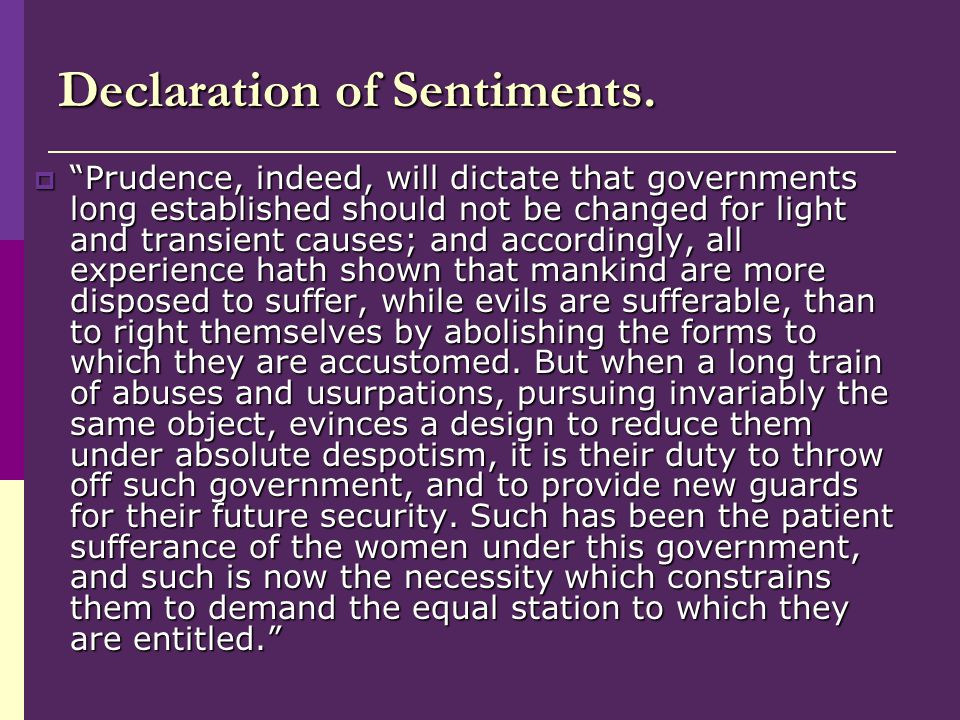 Declaration of Sentiments.