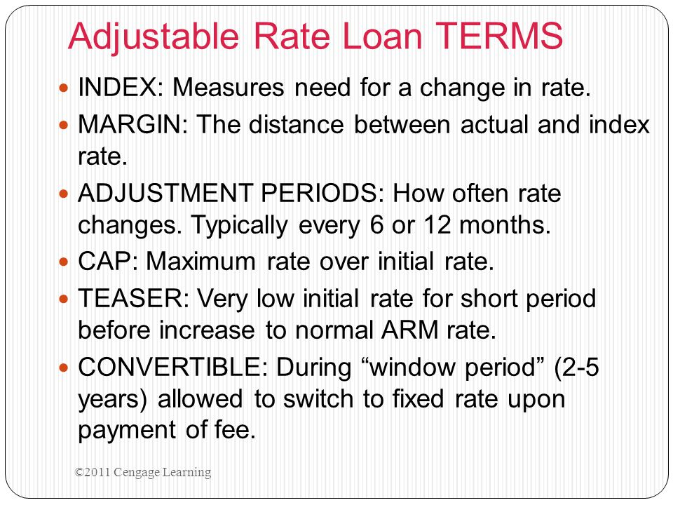 Adjustable Rate Loan TERMS