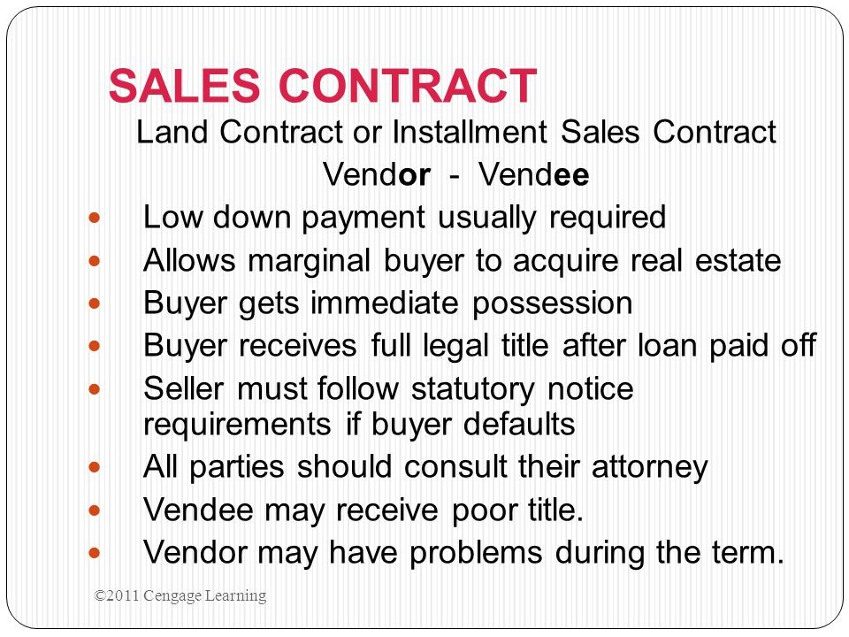 Land Contract or Installment Sales Contract