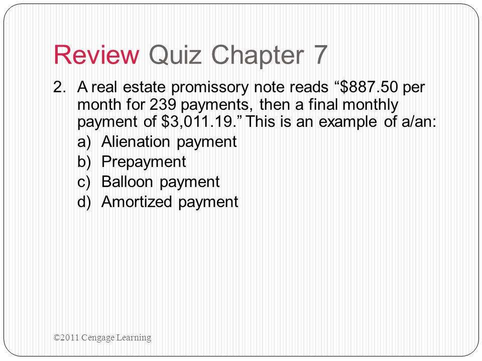 Review Quiz Chapter 7