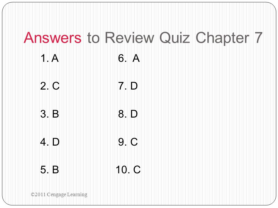 Answers to Review Quiz Chapter 7