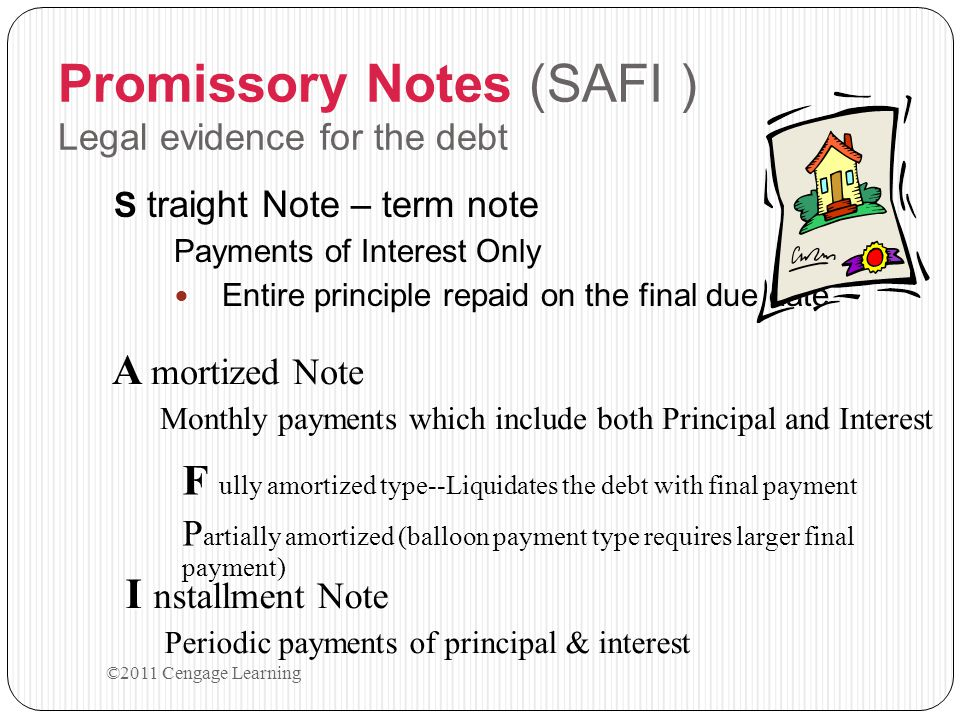 Promissory Notes (SAFI ) Legal evidence for the debt