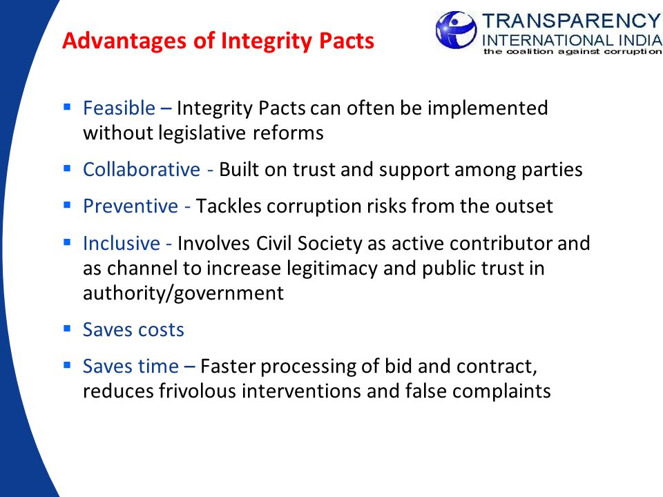 Advantages of Integrity Pacts