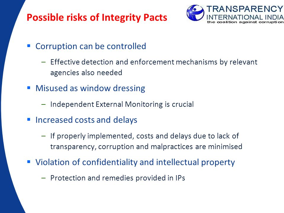 Possible risks of Integrity Pacts