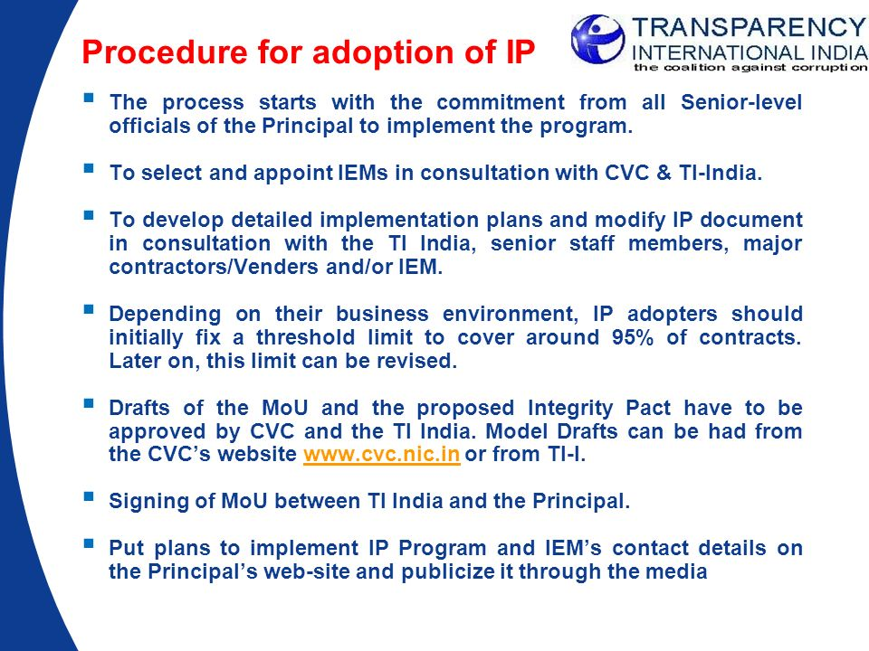 Procedure for adoption of IP
