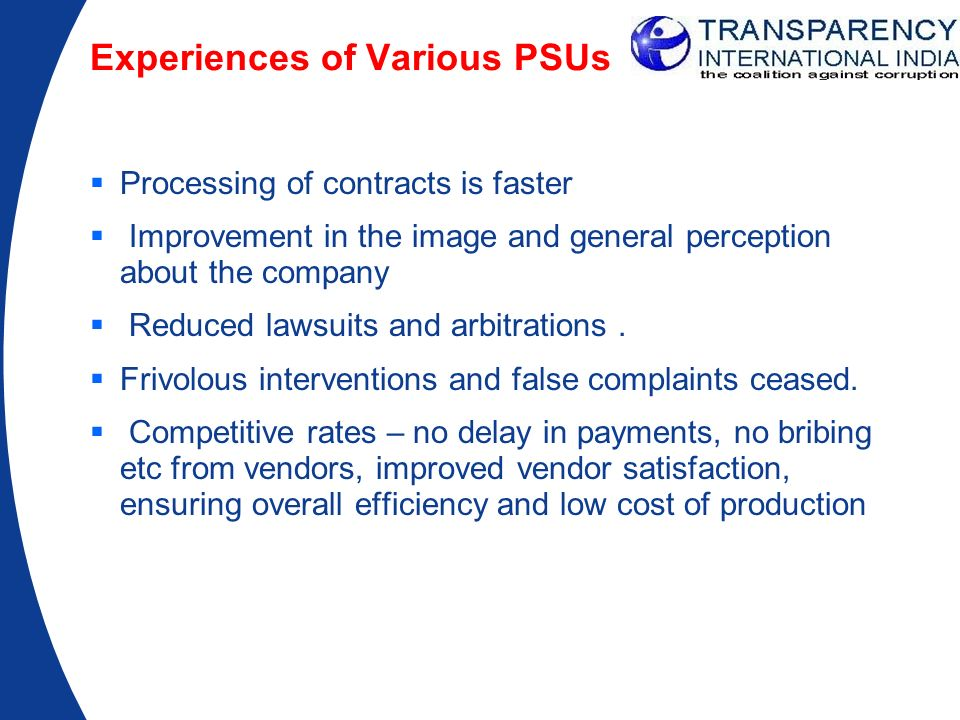 Experiences of Various PSUs