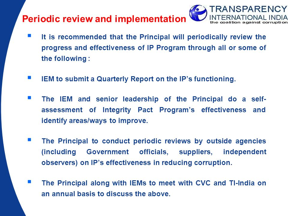 Periodic review and implementation