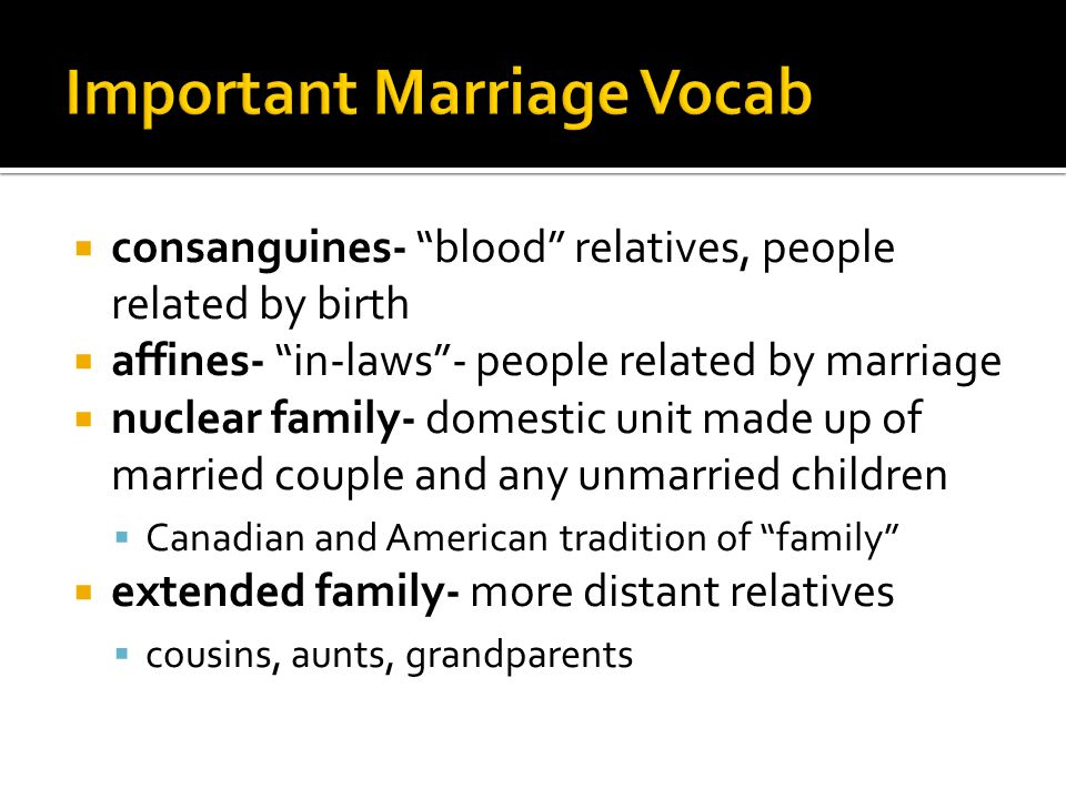 Important Marriage Vocab