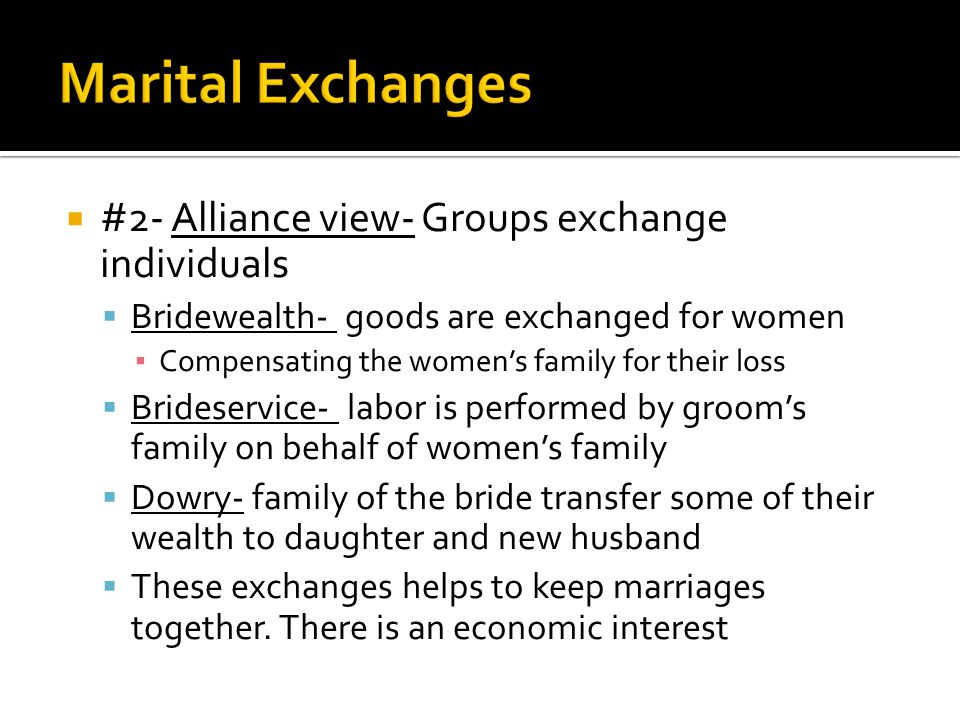 Marital Exchanges #2- Alliance view- Groups exchange individuals
