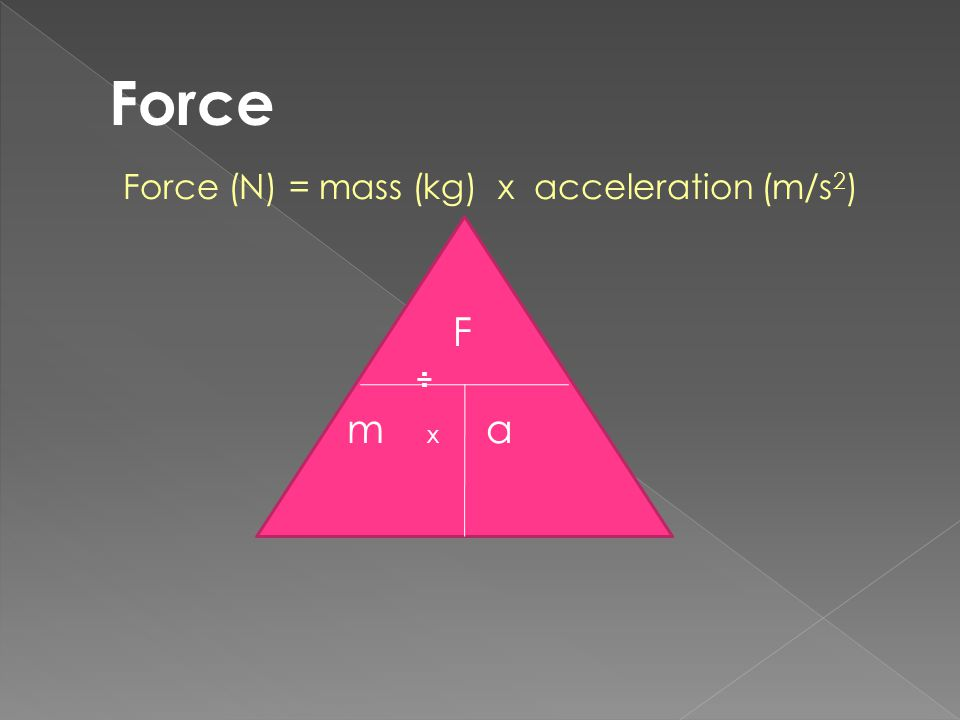 Force Force (N) = mass (kg) x acceleration (m/s2) F ÷ m x a