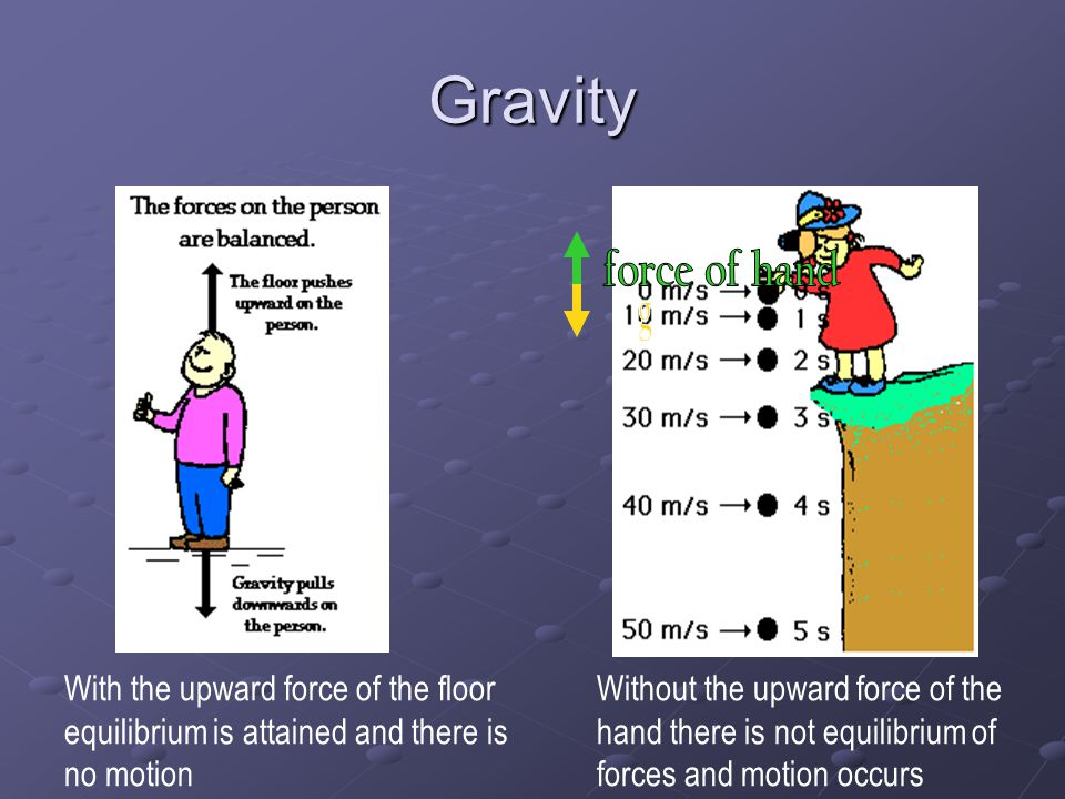 Gravity force of hand. g. With the upward force of the floor equilibrium is attained and there is no motion.
