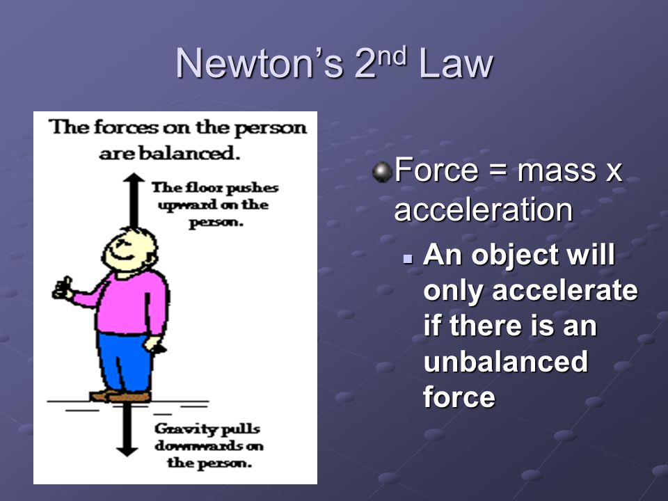 Newton's 2nd Law Force = mass x acceleration