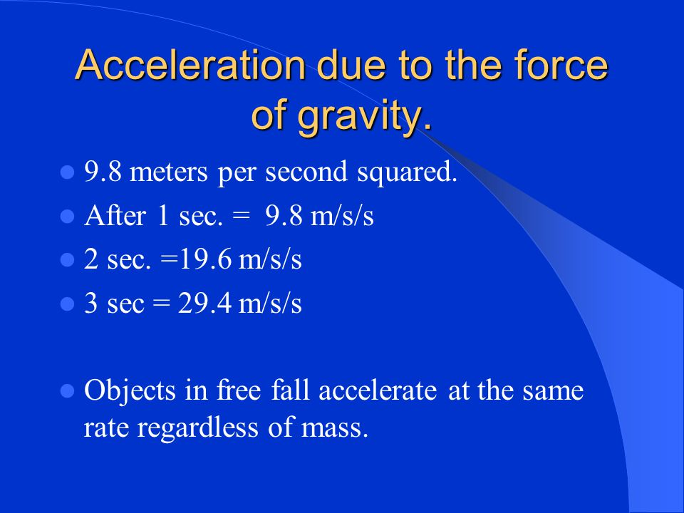 Acceleration due to the force of gravity.