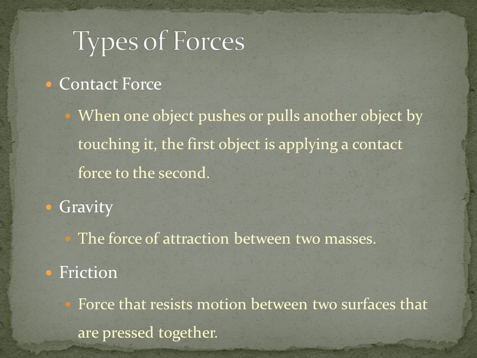 Types of Forces Contact Force Gravity Friction