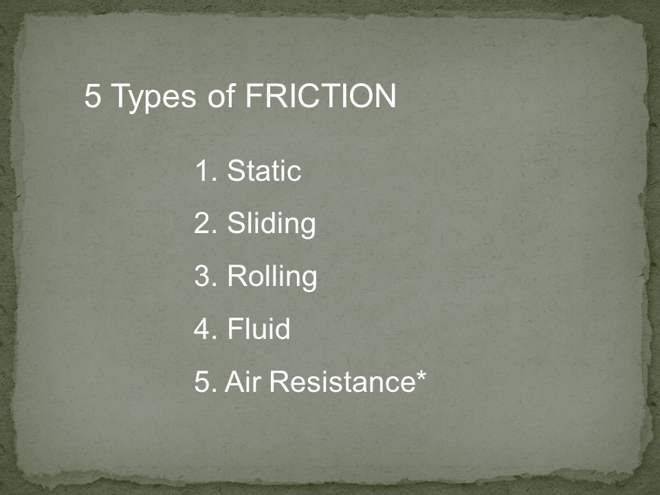5 Types of FRICTION Static Sliding Rolling Fluid Air Resistance*